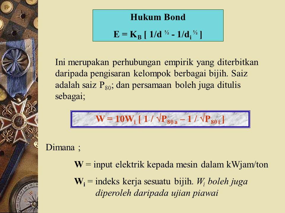 Hukum Bond E = KB [ 1/d ½ - 1/di ½ ]